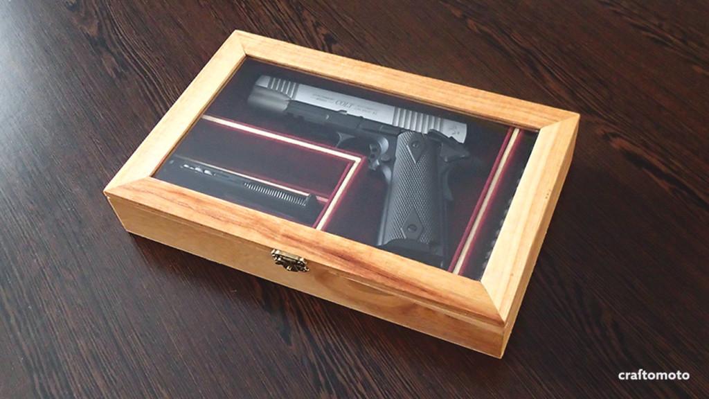 Plywood custom made airsoft pistol box